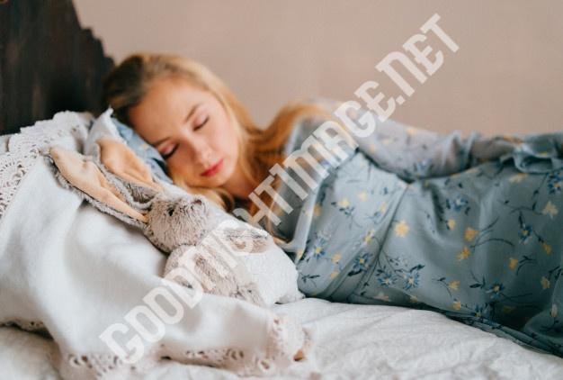 young beautiful blonde teen sleeping vintage wooden bed 149066 466